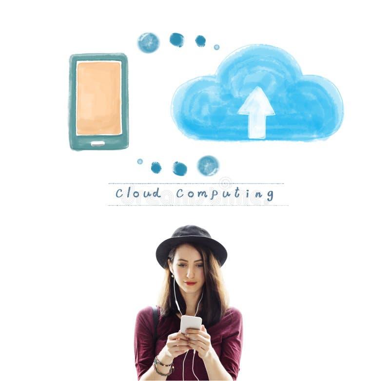 Σε απευθείας σύνδεση έννοια αποθήκευσης δικτύων υπολογισμού σύννεφων στοκ εικόνα