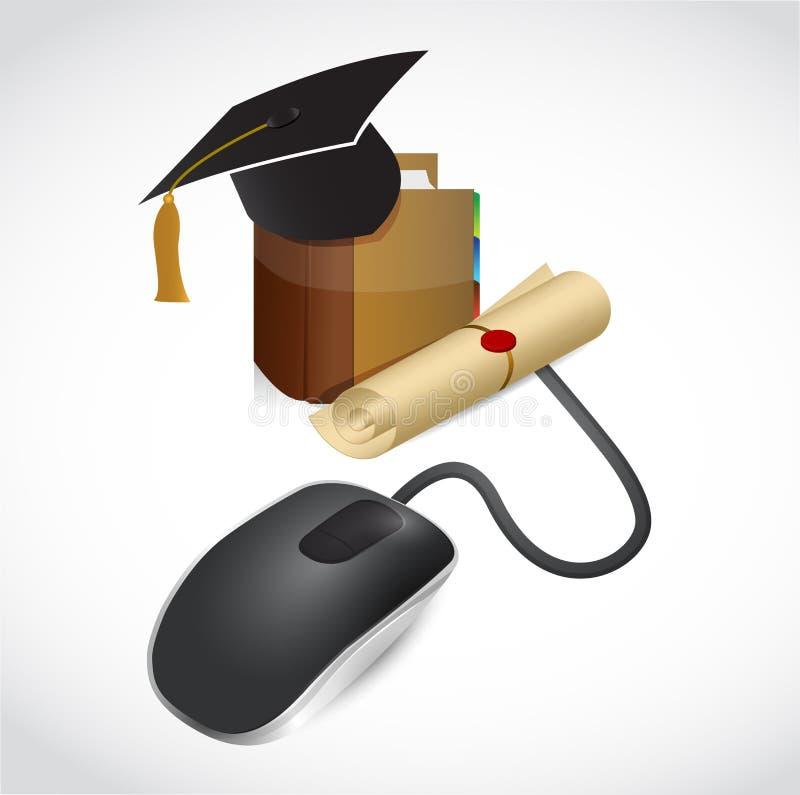 Σε απευθείας σύνδεση έννοια εκπαίδευσης. ποντίκι και βιβλίο. απεικόνιση αποθεμάτων