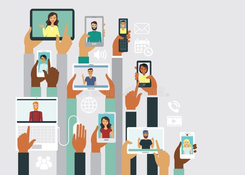 Σε απευθείας σύνδεση έννοια επικοινωνίας διανυσματική απεικόνιση