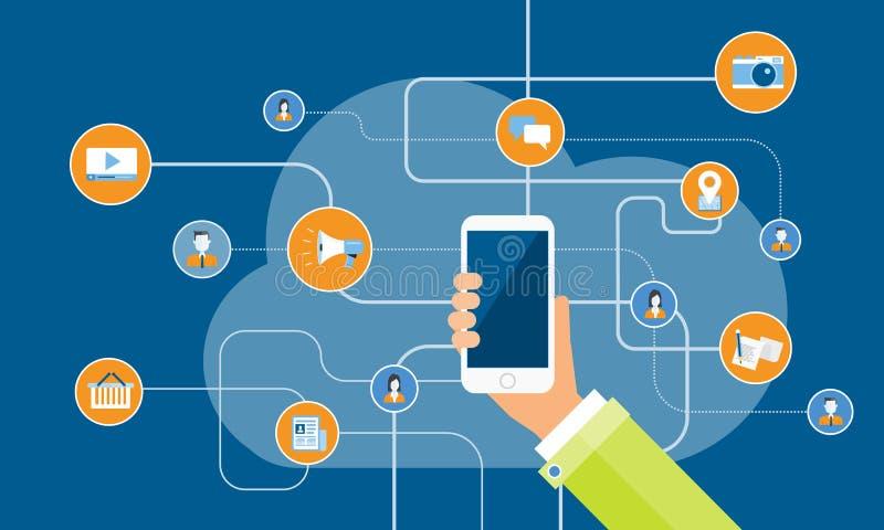 Σε απευθείας σύνδεση έννοια επιχειρησιακού κινητή μάρκετινγκ απεικόνιση αποθεμάτων