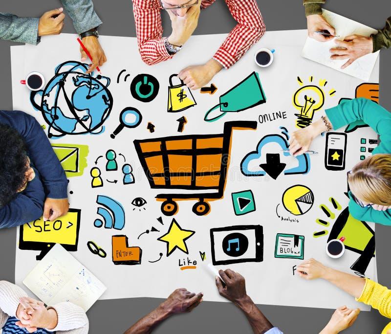 Σε απευθείας σύνδεση έννοια διαφήμισης εμπορίου μαρκαρίσματος εμπορικής στρατηγικής στοκ φωτογραφία