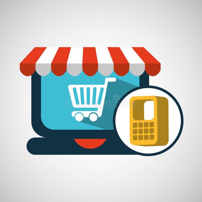 Σε απευθείας σύνδεση έννοια καταστημάτων κάρρων ηλεκτρονικού εμπορίου απεικόνιση αποθεμάτων