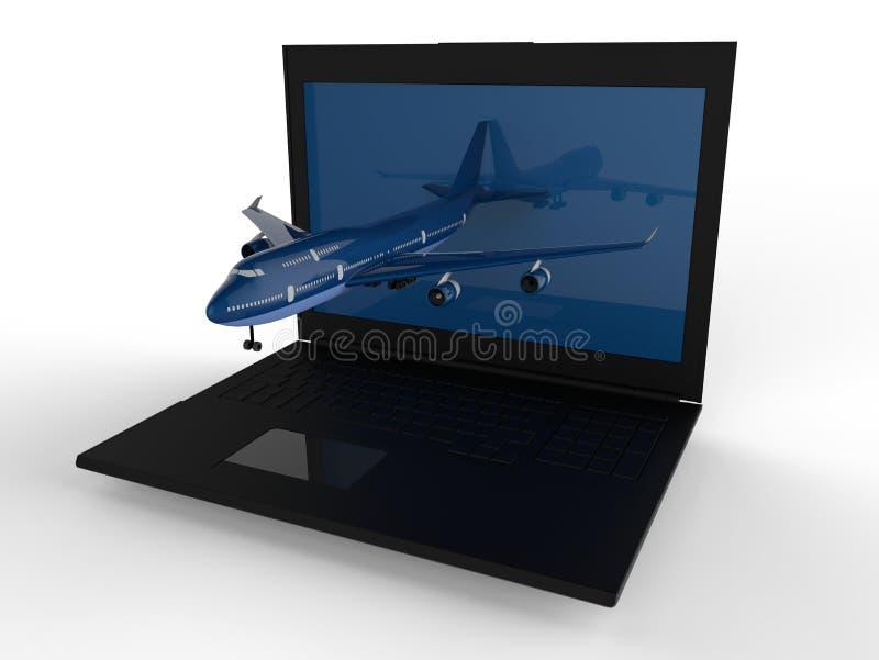 Σε απευθείας σύνδεση έννοια κράτησης αεροπλάνων ελεύθερη απεικόνιση δικαιώματος