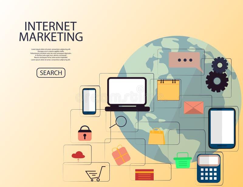 Σε απευθείας σύνδεση έννοια μάρκετινγκ Διαδικτύου Ψηφιακό μάρκετινγκ, κατάστημα, αγορές ηλεκτρονικού εμπορίου Επίπεδη απεικόνιση ελεύθερη απεικόνιση δικαιώματος