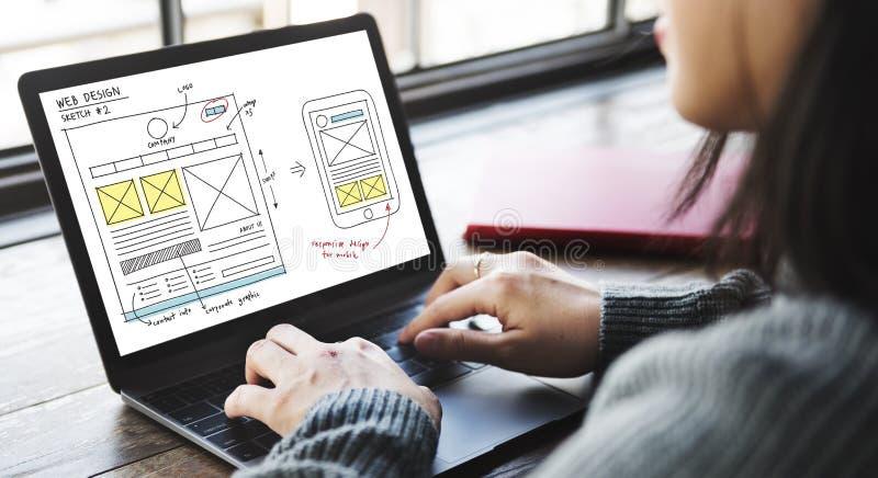 Σε απευθείας σύνδεση έννοια περιεχομένου τεχνολογίας σχεδιασμού Ιστού στοκ εικόνες