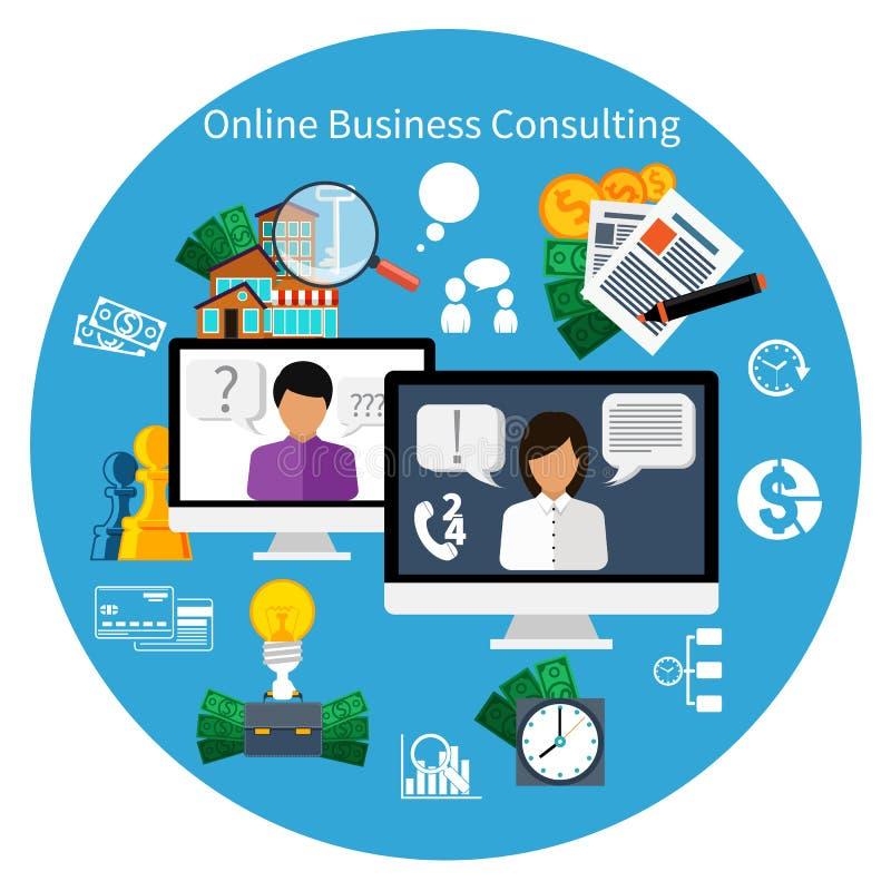 Σε απευθείας σύνδεση έννοια συμβουλευτικής υπηρεσίας πελατών απεικόνιση αποθεμάτων