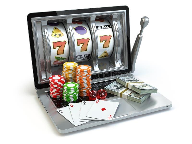 Σε απευθείας σύνδεση έννοια χαρτοπαικτικών λεσχών, παιχνίδι Το μηχάνημα τυχερών παιχνιδιών με κέρματα lap-top με χωρίζει σε τετρά ελεύθερη απεικόνιση δικαιώματος