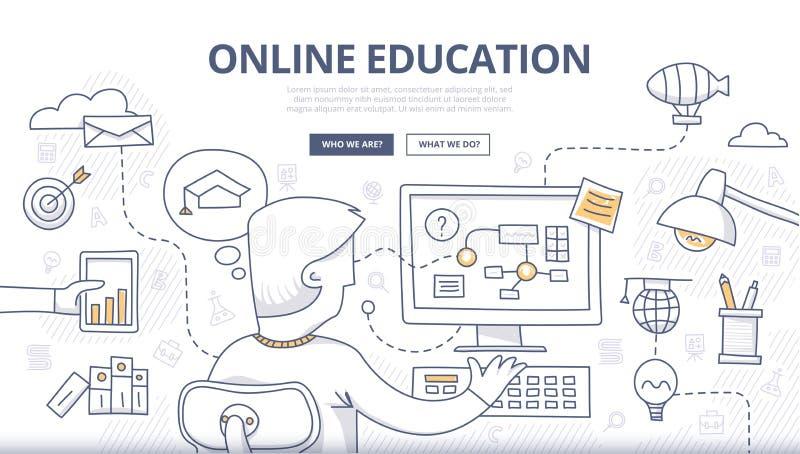 Σε απευθείας σύνδεση έννοια Doodle εκπαίδευσης διανυσματική απεικόνιση