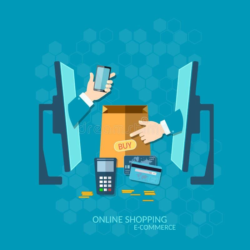Σε απευθείας σύνδεση αγορές πληρωμής ηλεκτρονικού εμπορίου NFC με την πιστωτική κάρτα διανυσματική απεικόνιση