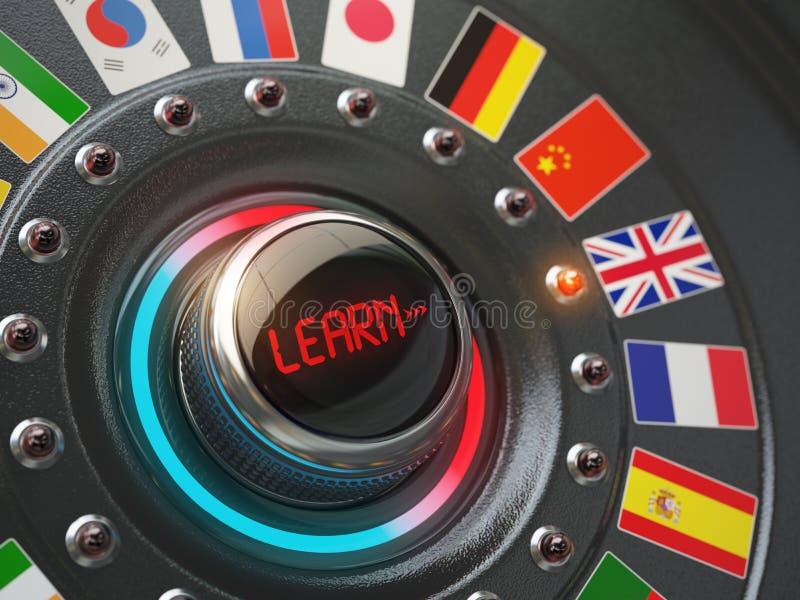 Σε απευθείας σύνδεση γλωσσική έννοια εκμάθησης Κουμπί εξογκωμάτων διακοπτών με τις σημαίες ελεύθερη απεικόνιση δικαιώματος