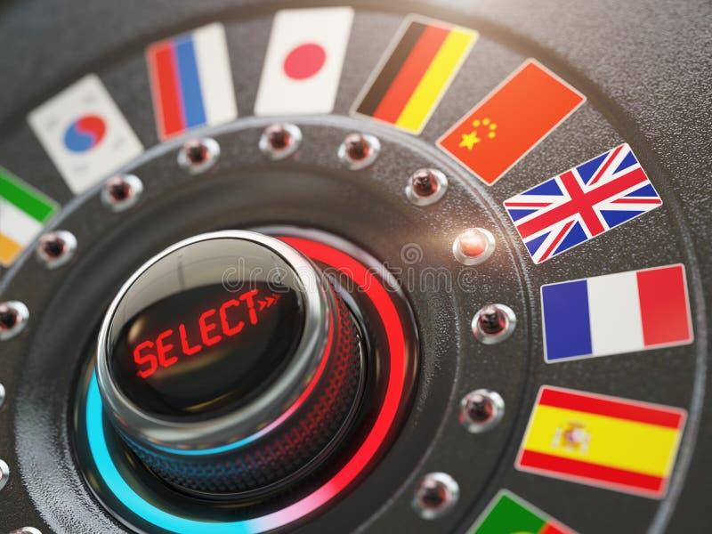 Σε απευθείας σύνδεση γλώσσα εκμάθησης ή γλώσσα επιλογής στον ιστοχώρο συμπυκνωμένο διανυσματική απεικόνιση