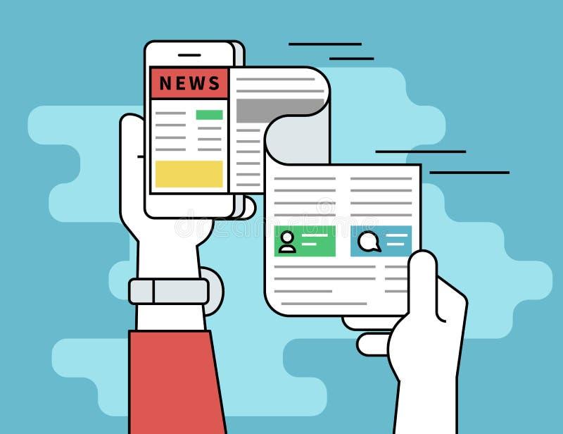 Σε απευθείας σύνδεση ειδήσεις ανάγνωσης απεικόνιση αποθεμάτων