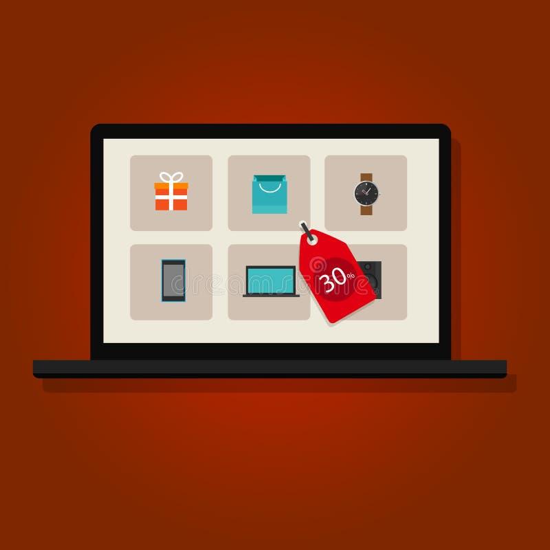 Σε απευθείας σύνδεση εμπόριο μάρκετινγκ Διαδικτύου έκπτωσης πώλησης διανυσματική απεικόνιση