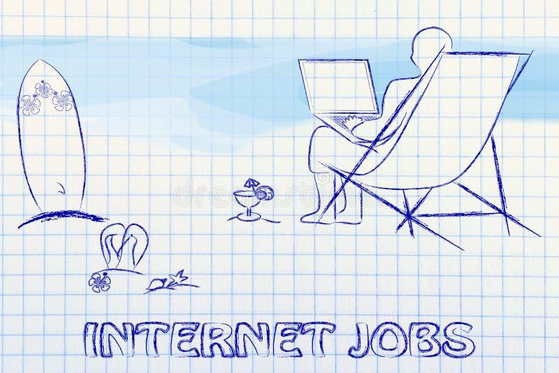 Σε απευθείας σύνδεση επιχείρηση και εργασίες: επιχειρηματίας ή υπάλληλος που εργάζεται remot διανυσματική απεικόνιση
