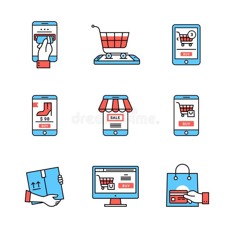 Σε απευθείας σύνδεση επιχείρηση κινητό κατάστημα διανυσματική απεικόνιση