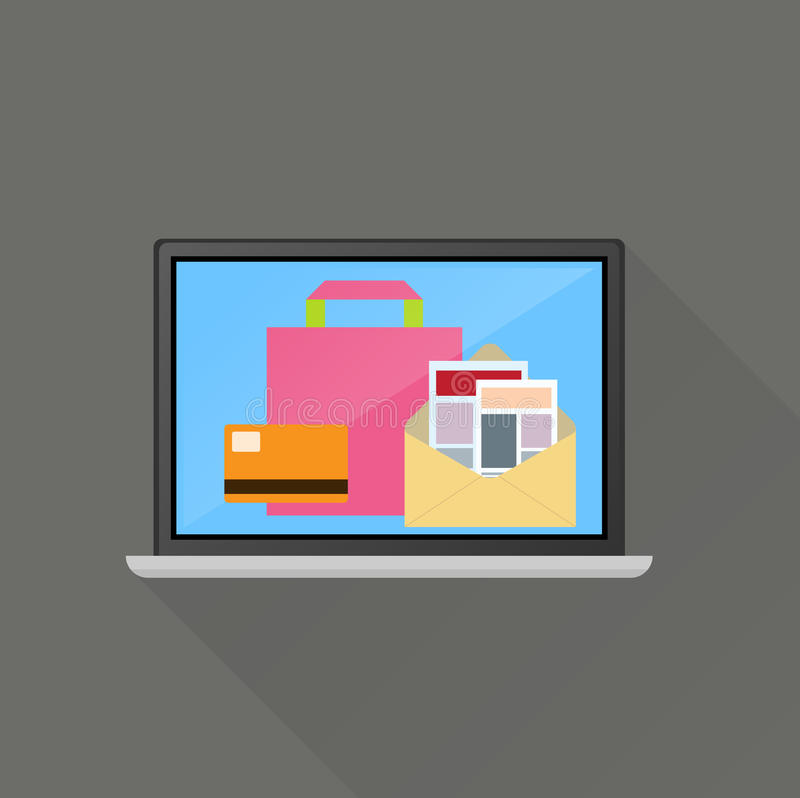 Σε απευθείας σύνδεση επιχειρησιακή έννοια ηλεκτρονικού εμπορίου ελεύθερη απεικόνιση δικαιώματος