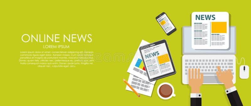 Σε απευθείας σύνδεση διανυσματική απεικόνιση ειδήσεων Επίπεδος υπολογισμός ελεύθερη απεικόνιση δικαιώματος