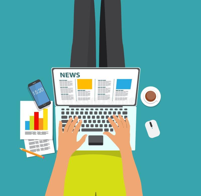 Σε απευθείας σύνδεση διανυσματική απεικόνιση ειδήσεων Επίπεδο υπόβαθρο υπολογισμού απεικόνιση αποθεμάτων