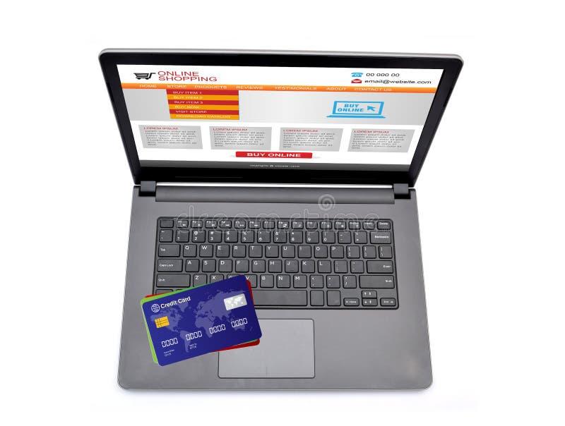 Download Σε απευθείας σύνδεση ιστοχώρος αγορών στην οθόνη Lap-top με τις πιστωτικές κάρτες Στοκ Εικόνα - εικόνα από κάρτες, χρέωση: 62722861