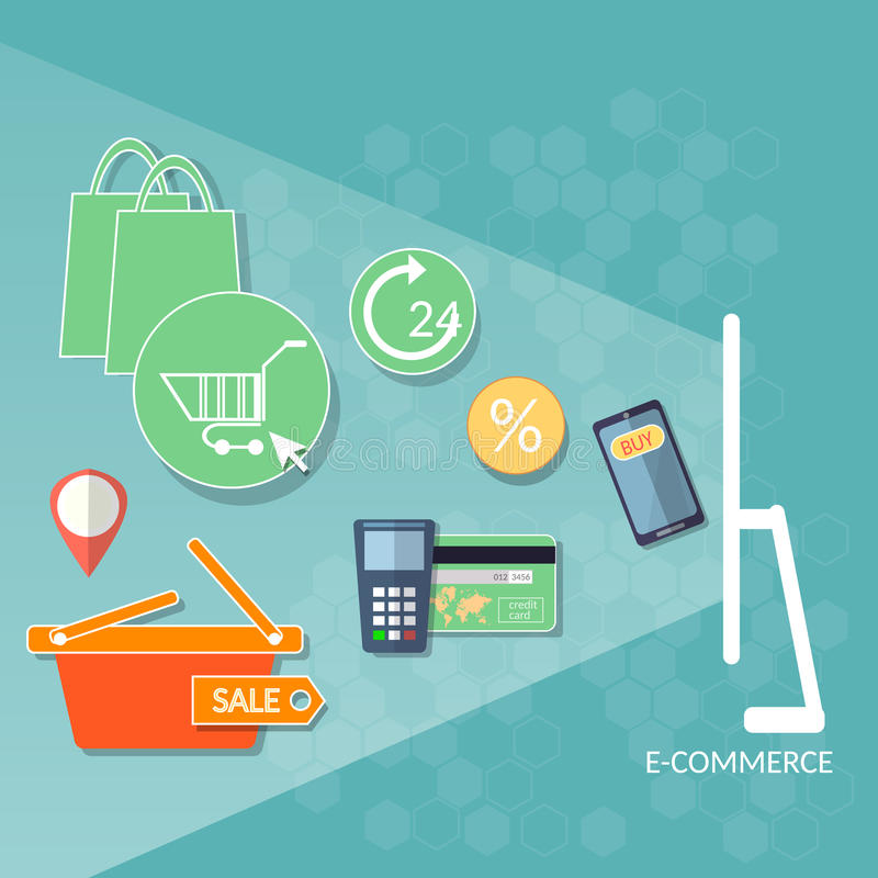 Σε απευθείας σύνδεση κατάστημα αγοράς Ιστού ηλεκτρονικού εμπορίου έννοιας αγορών Διαδικτύου cre διανυσματική απεικόνιση