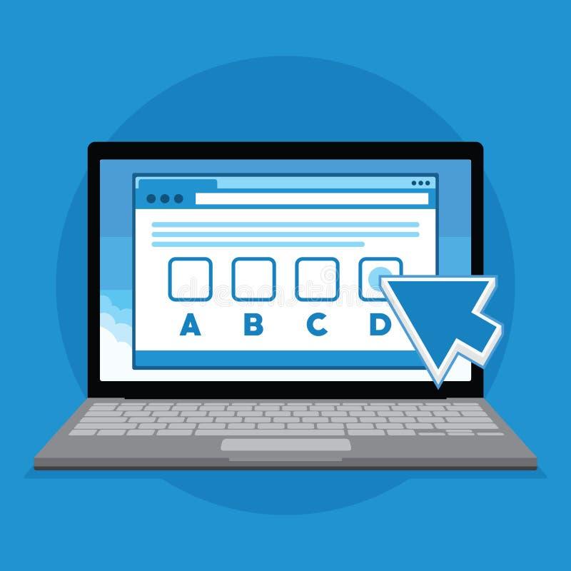 Σε απευθείας σύνδεση δοκιμή διαγωνισμών με την απεικόνιση lap-top διανυσματική απεικόνιση