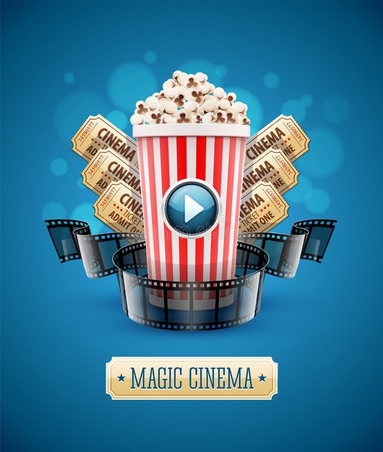 Σε απευθείας σύνδεση προσοχή κινηματογράφων τέχνης κινηματογράφων με popcorn ελεύθερη απεικόνιση δικαιώματος