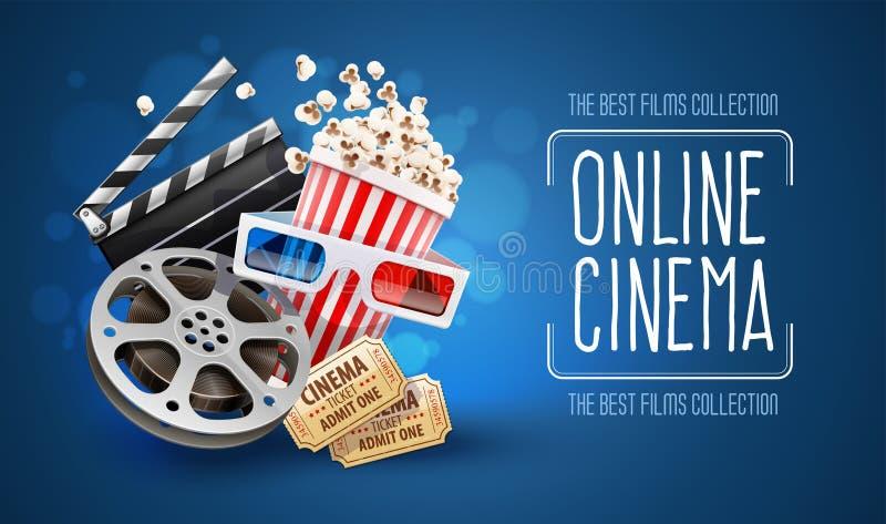 Σε απευθείας σύνδεση προσοχή κινηματογράφων τέχνης κινηματογράφων με popcorn διανυσματική απεικόνιση