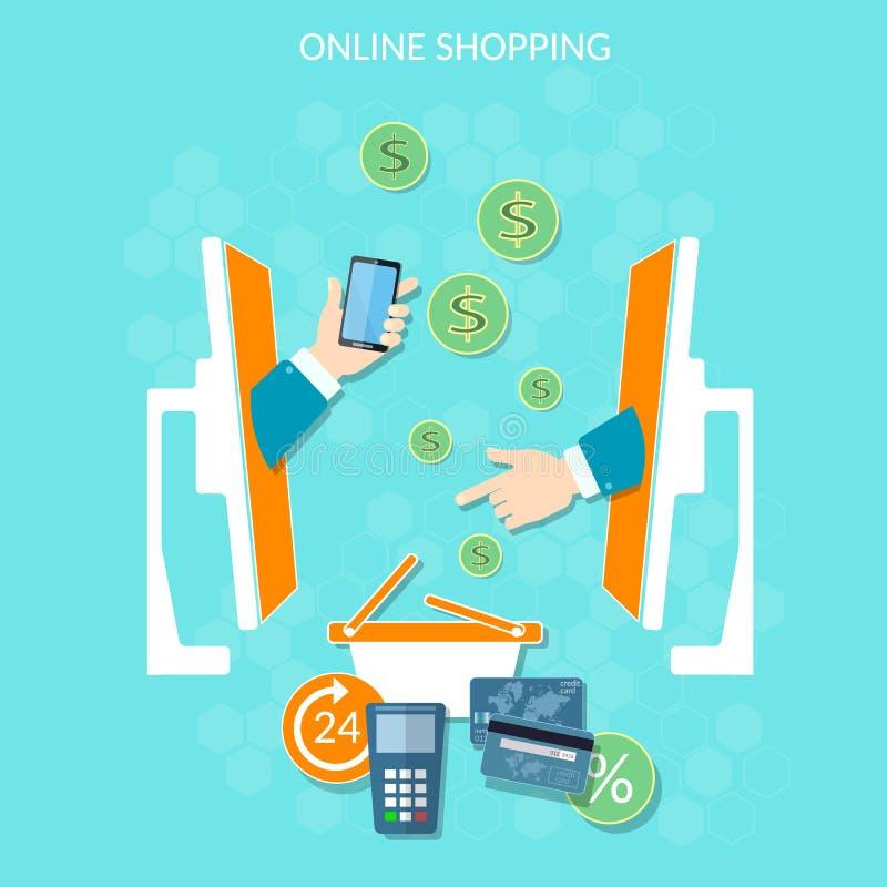 Σε απευθείας σύνδεση πληρωμές χρημάτων αγορών ιστοχώρου ηλεκτρονικού εμπορίου ελεύθερη απεικόνιση δικαιώματος