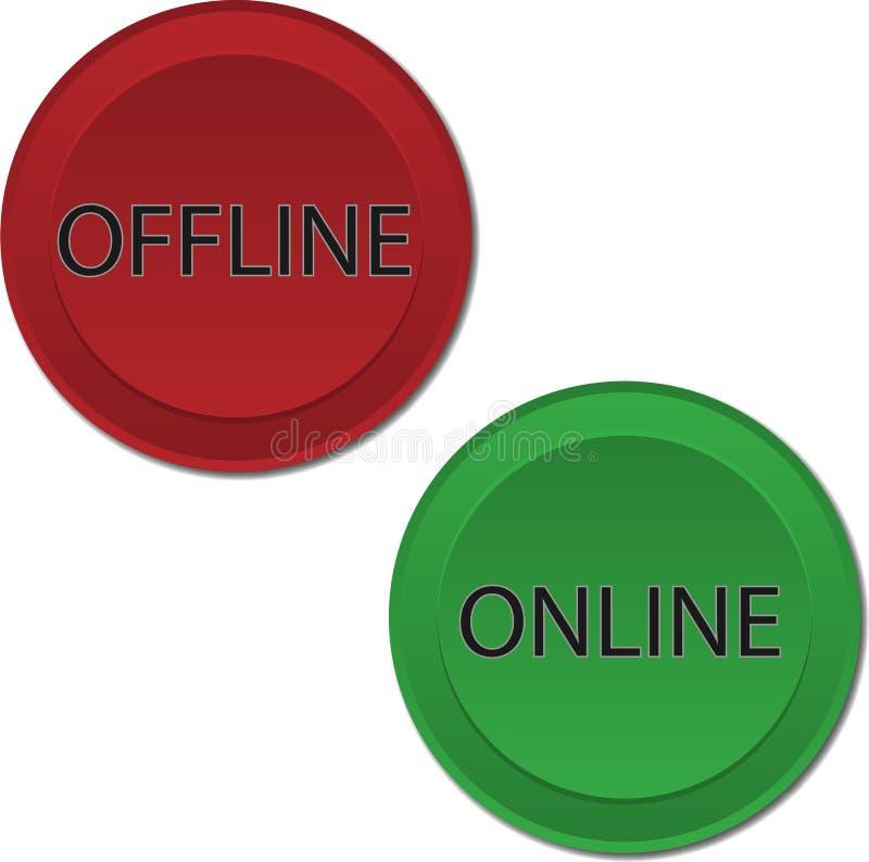 Σε απευθείας σύνδεση σε μη απευθείας σύνδεση κουμπιά ελεύθερη απεικόνιση δικαιώματος