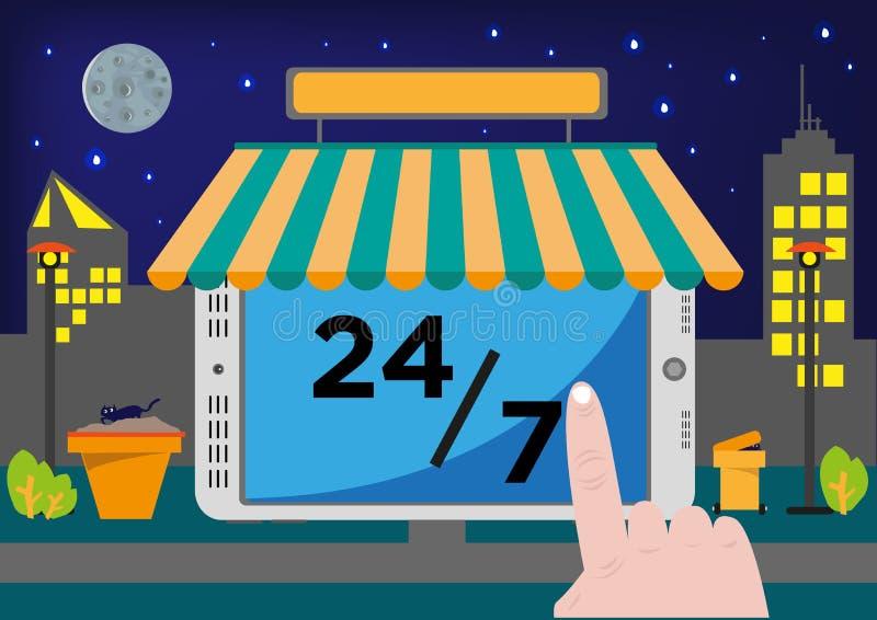 Σε απευθείας σύνδεση σύστημα θέσεων πώλησης καταστημάτων πωλώντας (POS) ή ουσία αγοράς μέσω Διαδικτύου για 24 ώρες, 7 ημέρες διανυσματική απεικόνιση