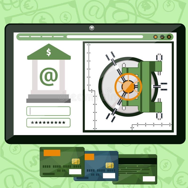 Σε απευθείας σύνδεση τραπεζικές εργασίες Διαδικτύου απεικόνιση αποθεμάτων