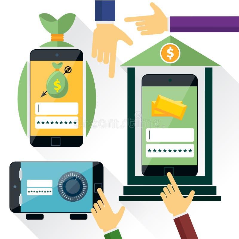 Σε απευθείας σύνδεση τραπεζικές εργασίες Διαδικτύου διανυσματική απεικόνιση