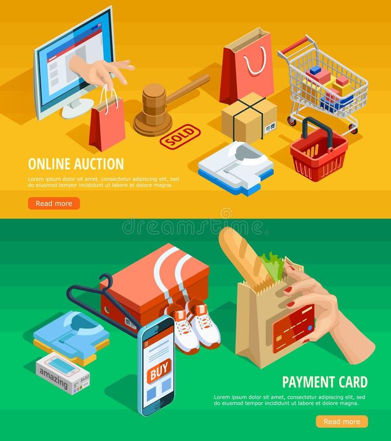 Σε απευθείας σύνδεση Isometric εμβλήματα ηλεκτρονικού εμπορίου αγορών ελεύθερη απεικόνιση δικαιώματος