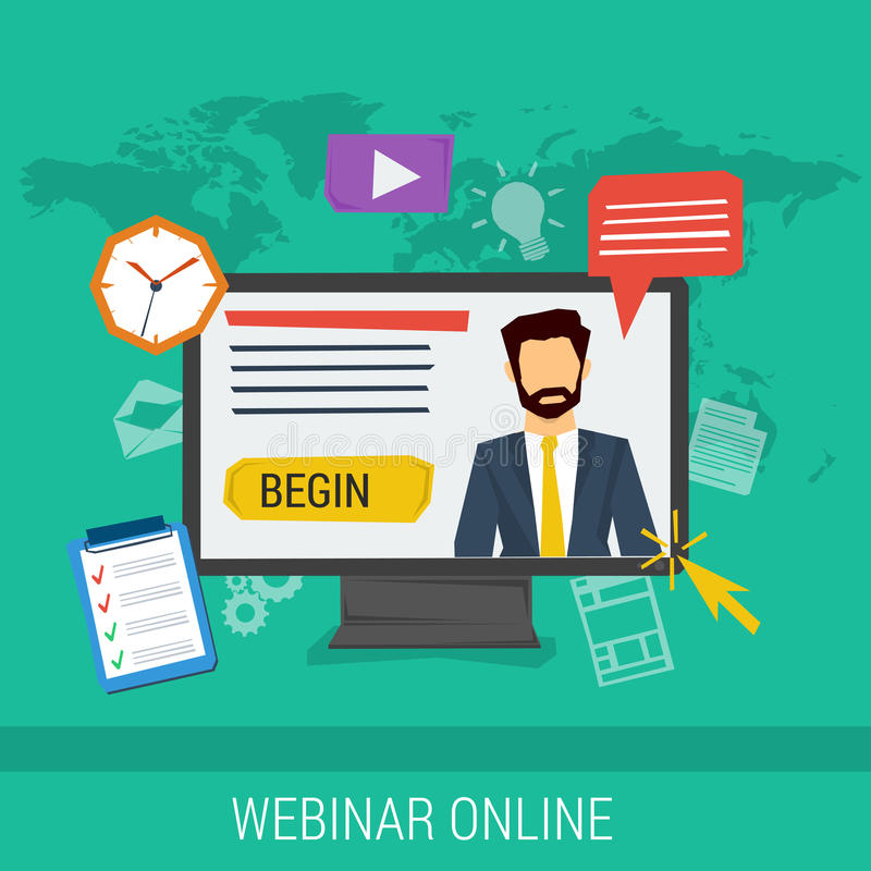 Σε απευθείας σύνδεση webinar, ε-μαθαίνοντας, επαγγελματικές διαλέξεις ελεύθερη απεικόνιση δικαιώματος