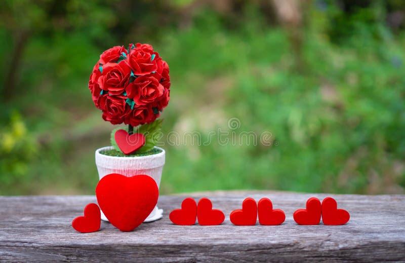 Σε δοχείο κόκκινα τριαντάφυλλα που τοποθετούνται στο ξύλινο διάστημα πατωμάτων και αντιγράφων Το υπόβαθρο είναι ένας κήπος Τα κόκ στοκ φωτογραφίες