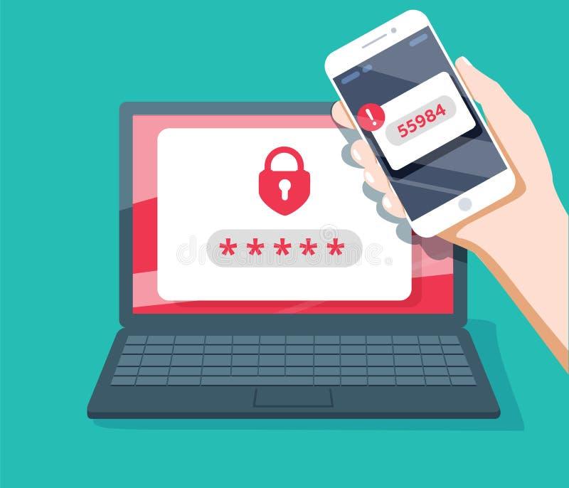 Σε δύο στάδια διανυσματική απεικόνιση επικύρωσης, επίπεδες smartphone κινούμενων σχεδίων και σύνδεση ασφάλειας υπολογιστών ή sign ελεύθερη απεικόνιση δικαιώματος