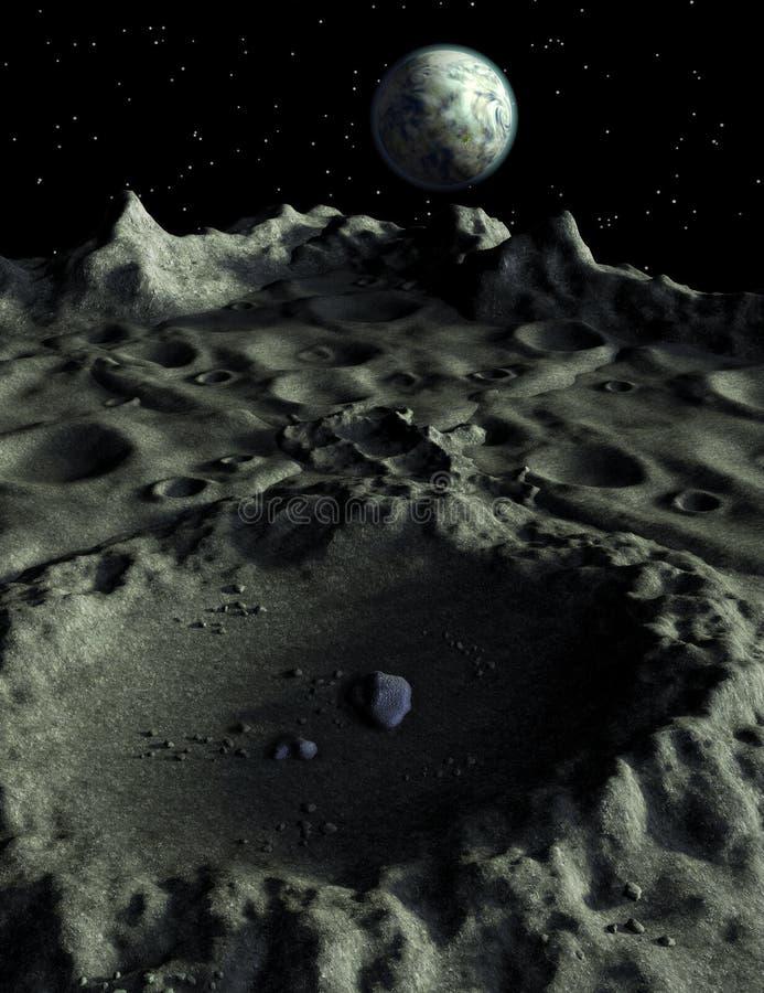 Σεληνιακοί κρατήρες Moonscape ελεύθερη απεικόνιση δικαιώματος