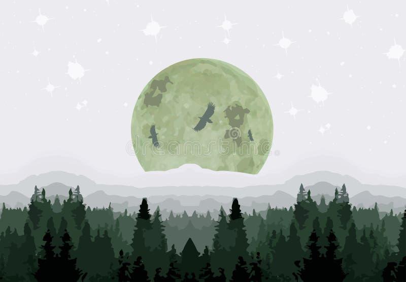 Σεληνόφωτο πέρα από το δάσος διανυσματική απεικόνιση