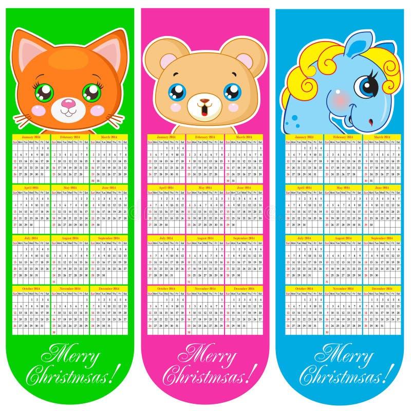 Σελιδοδείκτες και ημερολόγιο 2014 με τα ζώα διανυσματική απεικόνιση