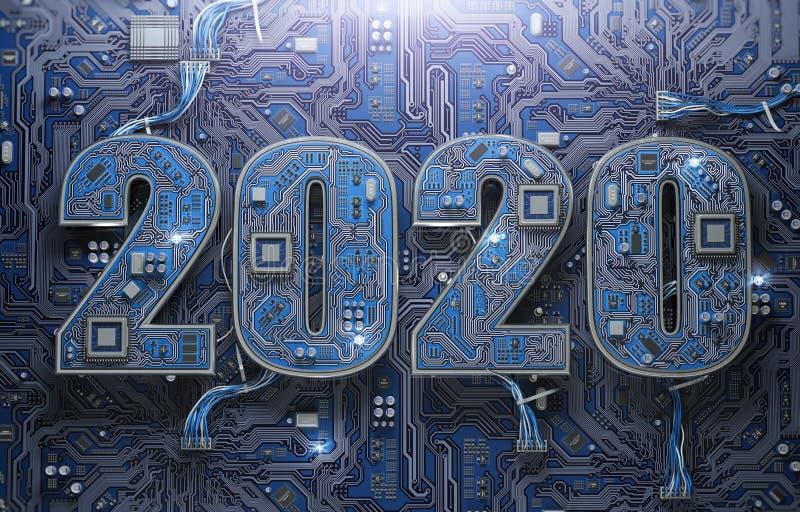 2020 σε πλακέτα κυκλώματος ή μητρική πλακέτα με cpu Τεχνολογία υπολογιστών και ψηφιακές επικοινωνίες Χαρούμενα νέα διανυσματική απεικόνιση