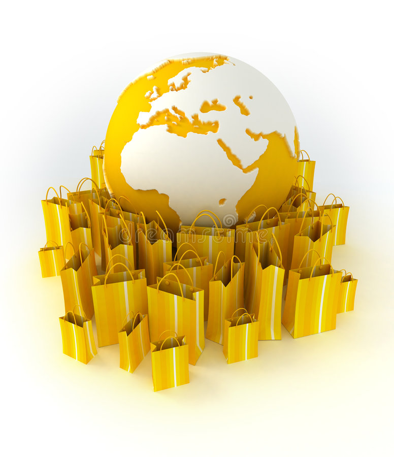 σε όλο τον κόσμο αγορών κίτρινο διανυσματική απεικόνιση
