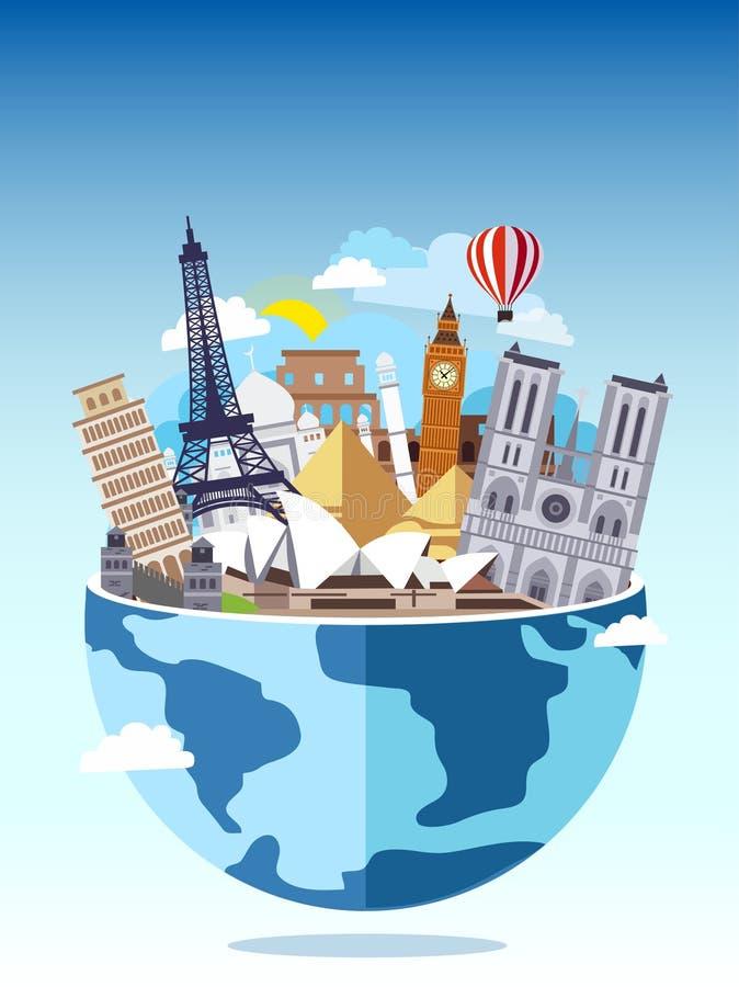 σε όλο τον κόσμο ταξιδιού Τουρισμός με τα διάσημα παγκόσμια ορόσημα επίσης corel σύρετε το διάνυσμα απεικόνισης Σφαίρα με το διαφ απεικόνιση αποθεμάτων