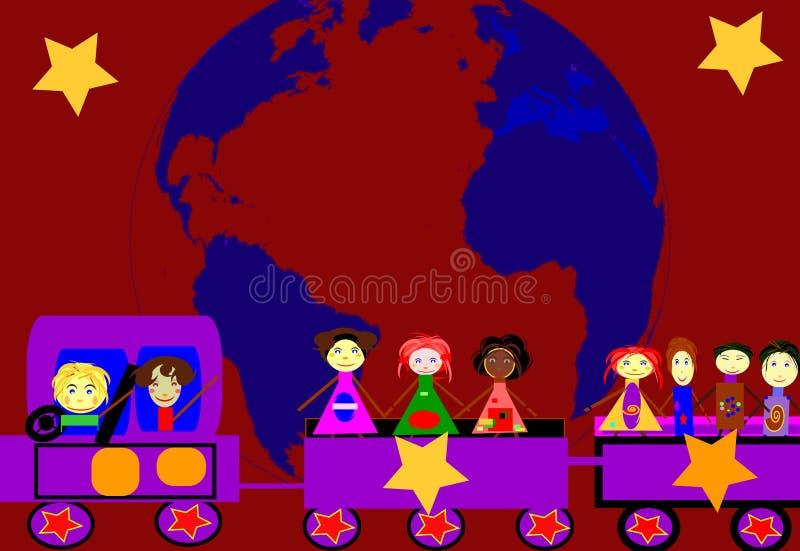 σε όλο τον κόσμο ταξιδιού τραίνων αγάπης ελεύθερη απεικόνιση δικαιώματος