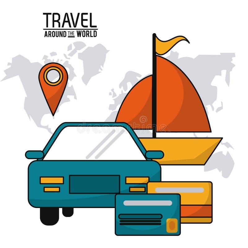σε όλο τον κόσμο ταξιδιού χάρτης πιστωτικών καρτών βαρκών σκαφών αυτοκινήτων οχημάτων ελεύθερη απεικόνιση δικαιώματος