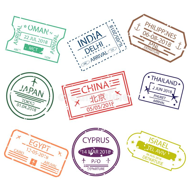 Σημάδια γραμματοσήμων ή θεωρήσεων διαβατηρίων για την είσοδο στις διαφορετικές χώρες Ασία Διεθνή σύμβολα αερολιμένων διανυσματική απεικόνιση