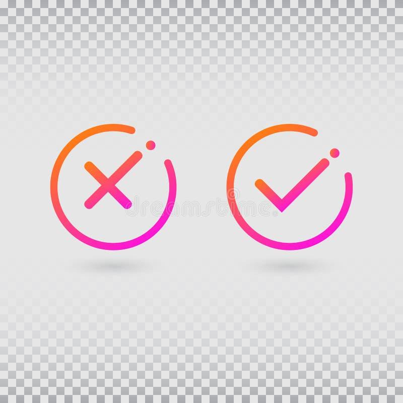 Σημάδια ελέγχου που τίθενται στα σύγχρονα χρώματα κλίσης Φωτεινοί κρότωνας και σταυρός στις μορφές κύκλων Έννοια του πίνακα ελέγχ απεικόνιση αποθεμάτων