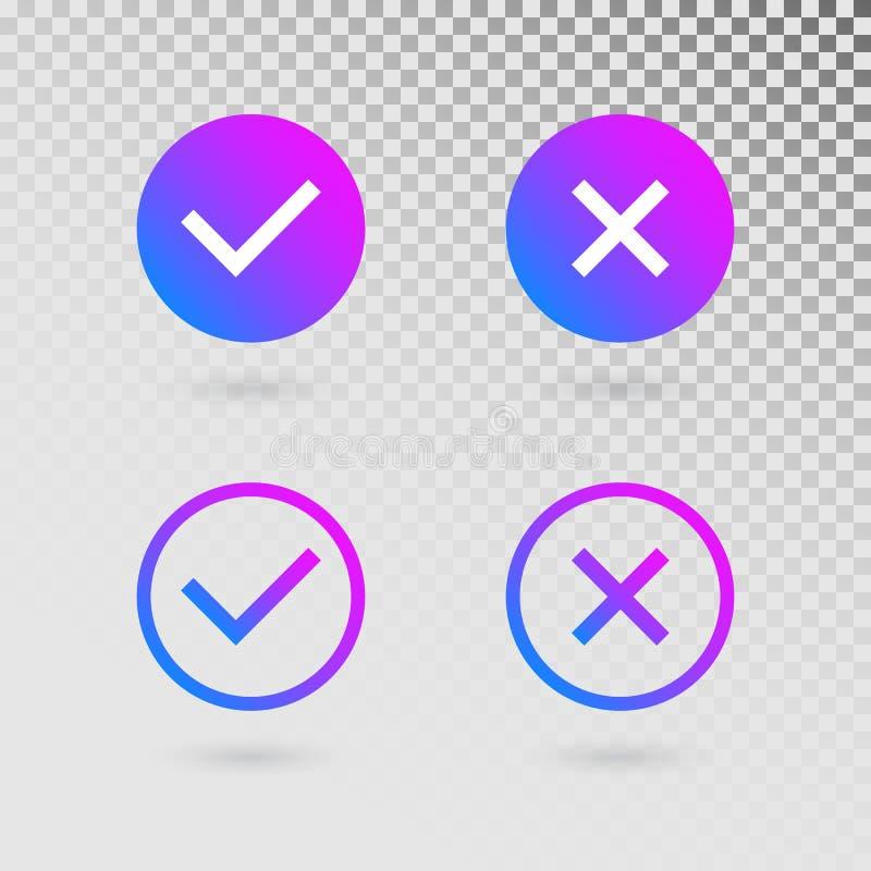 Σημάδια ελέγχου που τίθενται στα σύγχρονα χρώματα κλίσης Φωτεινοί κρότωνας και σταυρός στις μορφές κύκλων Η έννοια του πίνακα ελέ διανυσματική απεικόνιση