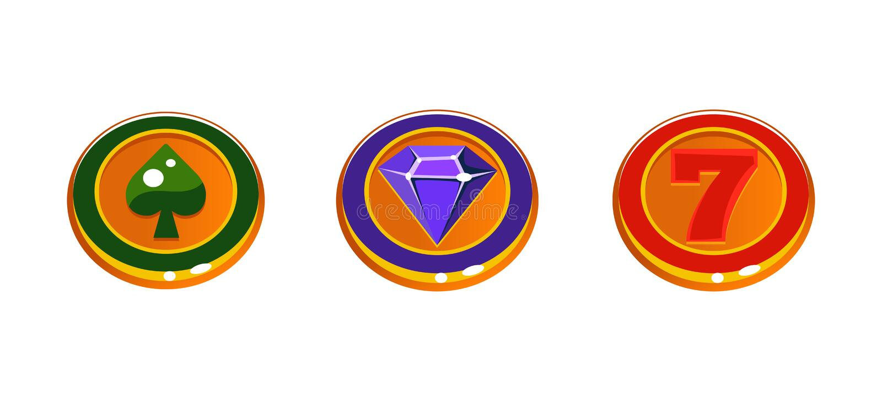 Σημάδια μηχανημάτων τυχερών παιχνιδιών με κέρματα, ζωηρόχρωμα στοιχεία ενδιάμεσων με τον χρήστη παιχνιδιών για τον υπολογιστή ή τ ελεύθερη απεικόνιση δικαιώματος