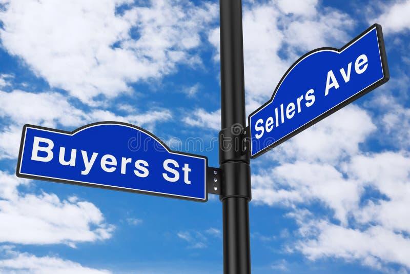 Σημάδια οδών οδών αγοραστών και λεωφόρων πωλητών τρισδιάστατη απόδοση απεικόνιση αποθεμάτων
