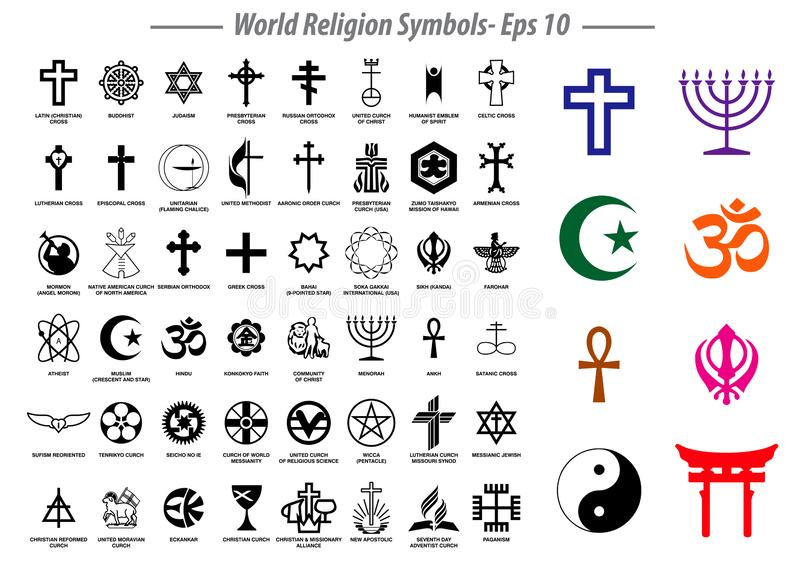 Σημάδια συμβόλων παγκόσμιας θρησκείας σημαντικών θρησκευτικών ομάδων και άλλων θρησκειών που απομονώνονται απεικόνιση αποθεμάτων